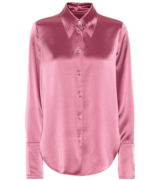 Nanushka Mandine satin shirt in pink