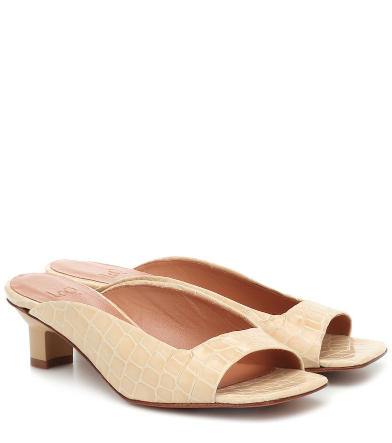 LOQ Parma croc-effect leather sandals in beige