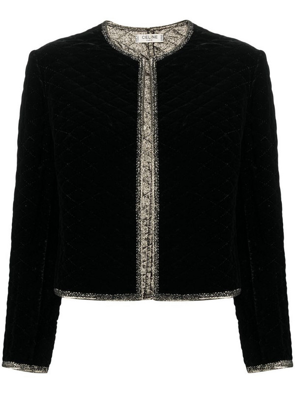 Céline Pre-Owned pre-owned glitter edging collarless jacket in black