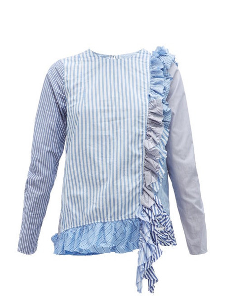 By Walid - Nicky Panelled Striped Cotton Blouse - Womens - Blue Multi