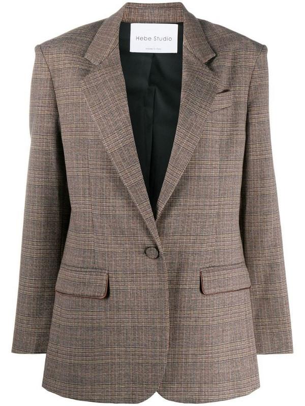 Hebe Studio plaid single-breasted blazer in brown