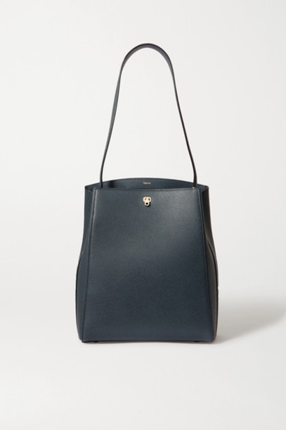 Valextra - Brera Textured-leather Shoulder Bag - Navy