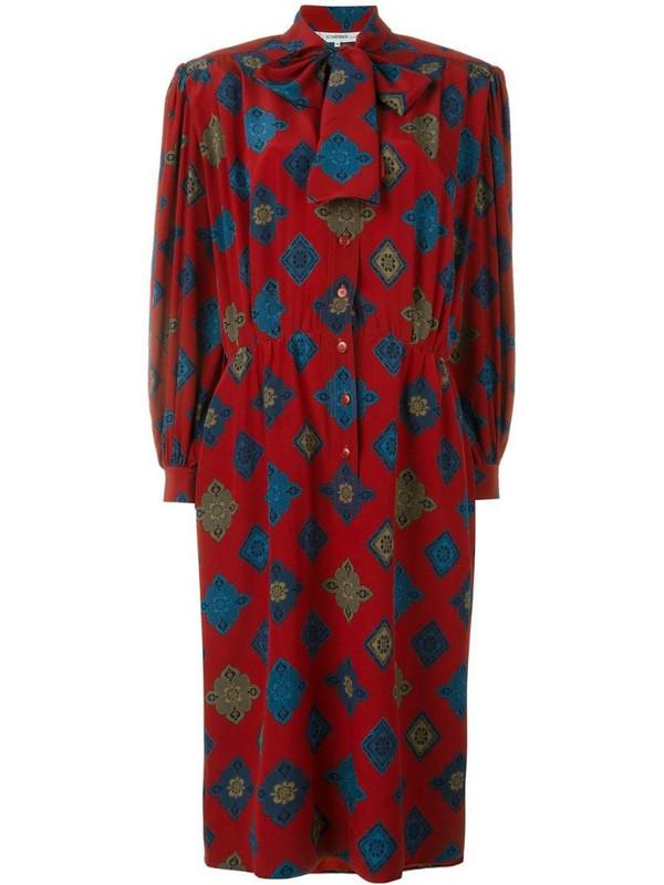 Jean Louis Scherrer Pre-Owned printed dress in red
