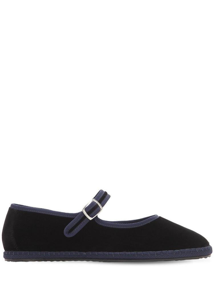 VIBI VENEZIA 10mm Mary Jane Nero Velvet Loafers in black