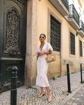dress,white dress,midi dress,lace dress,short sleeve dress,pumps,handbag