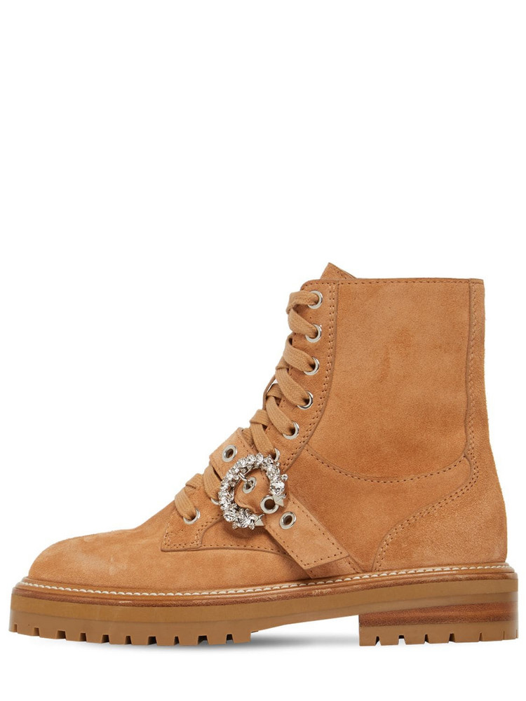 JIMMY CHOO 30mm Cora Suede Combat Boots in camel