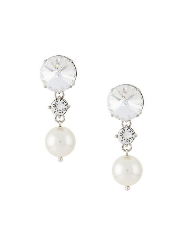 Miu Miu crystal and pearl drop earrings in metallic
