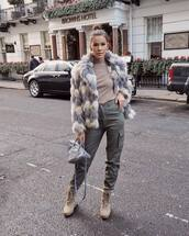 bag,grey bag,balenciaga,shoulder bag,platform shoes,lace up boots,pants,turtleneck,faux fur coat