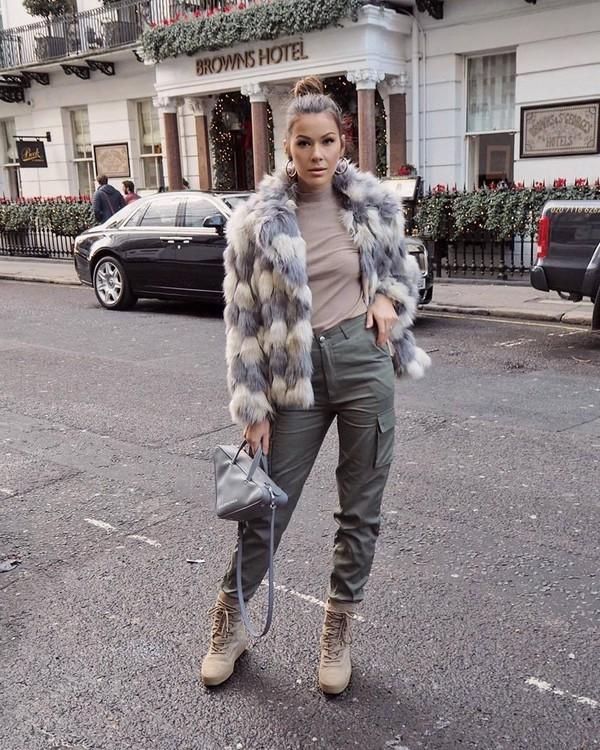 bag grey bag balenciaga shoulder bag platform shoes lace up boots pants turtleneck faux fur coat
