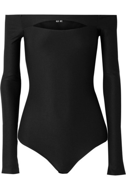 Alix NYC - Vesey Off-the-shoulder Cutout Stretch-jersey Thong Bodysuit - Black