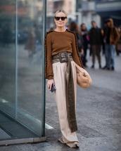 sweater,brown sweater,max mara,high waisted pants,pleated,belt,bag