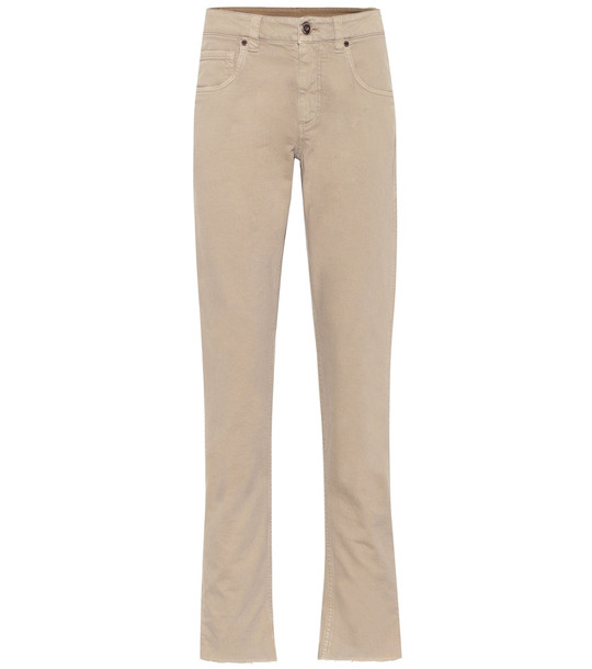 Brunello Cucinelli High-rise straight jeans in beige