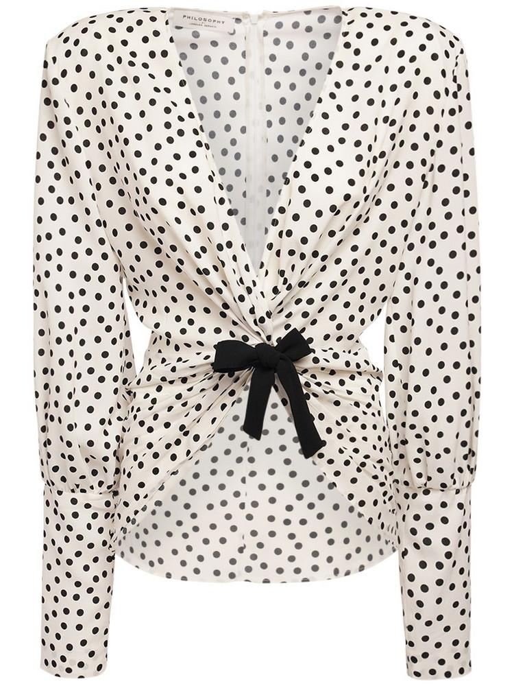 PHILOSOPHY DI LORENZO SERAFINI Polka Dots Light Top W/ Bow in black / white