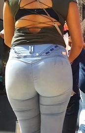 jeans,denim,blue,tight,high waisted,light blue,belt loops,pocketless