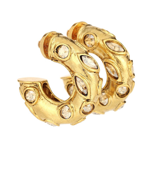 Oscar de la Renta Embellished hoop earrings in gold