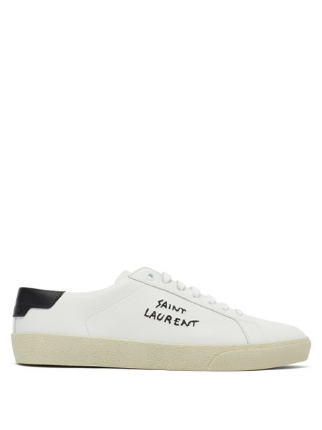 Saint Laurent - Court Logo-embroidered Leather Trainers - Womens - White