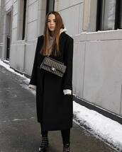 coat,long coat,black coat,sandro,black boots,ankle boots,black pants,chanel bag,black bag,grey hoodie,zara