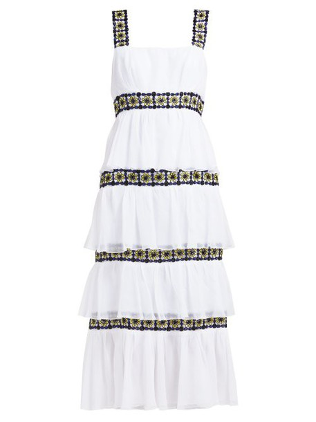 Carolina Herrera - Floral Beaded Tiered Silk Chiffon Midi Dress - Womens - White Black
