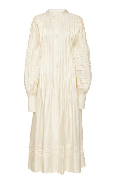 LEE MATHEWS Emiko Pintucked Poplin Dress in white