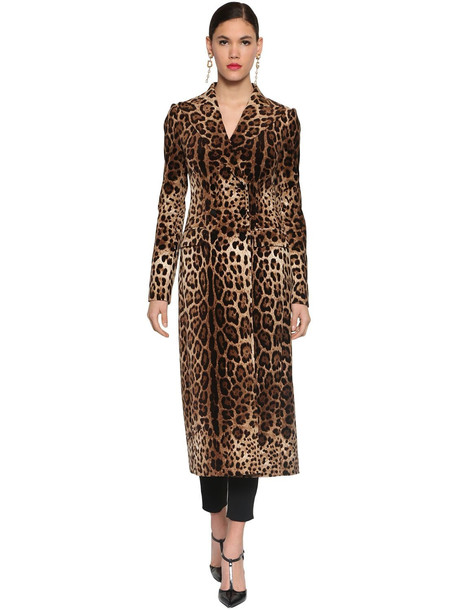 DOLCE & GABBANA Printed Stretch Velvet Long Coat in leopard