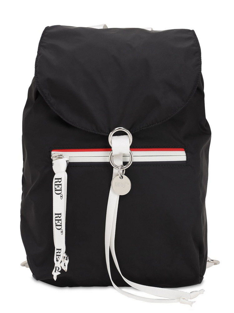 RED V Nylon Backpack in black