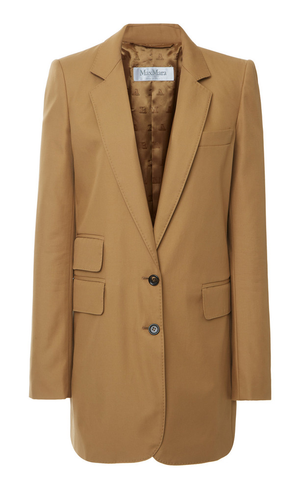 Max Mara Ronchi Cotton-Gabardine Notch-Lapel Blazer Size: 0 in brown