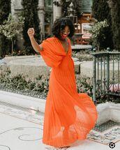 dress,wrap dress,orange dress,pleated dress,maxi dress,sandals