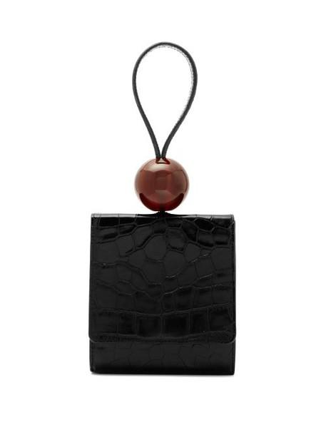 By Far - Ball Crocodile Effect Leather Clutch Bag - Womens - Black