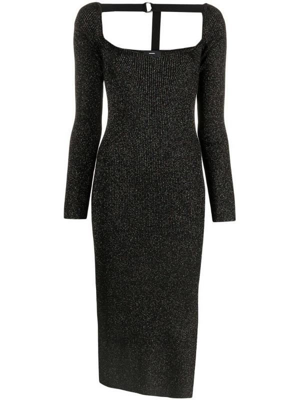 Diesel metallic ribbed-knit midi dress in black