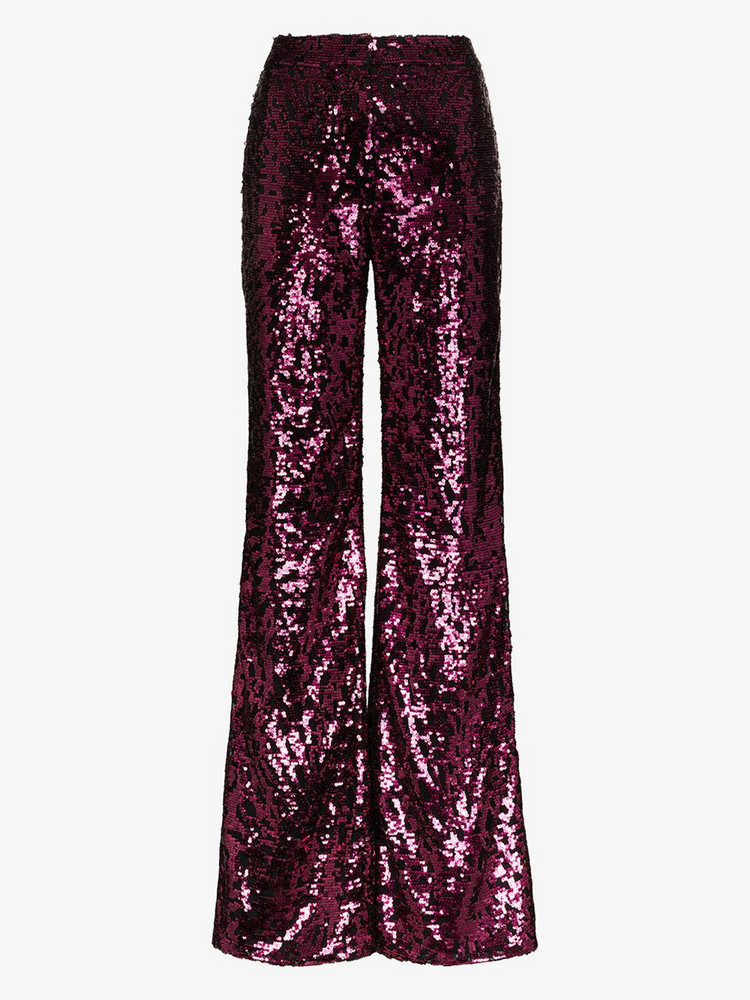 Halpern sequin flared trousers in pink