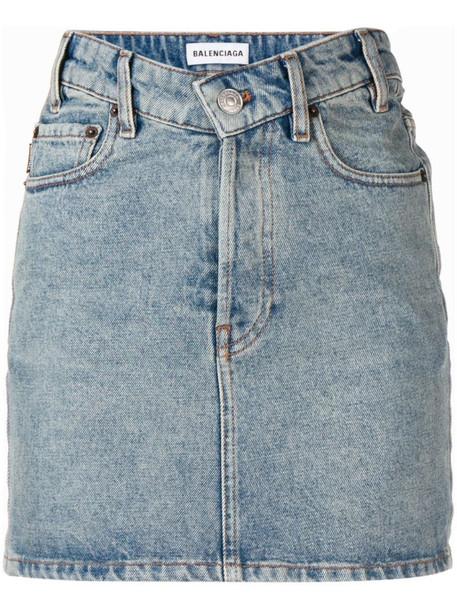 Balenciaga v-neck mini skirt in blue