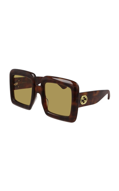Gucci Oversized Square-Frame Acetate Sunglasses in brown