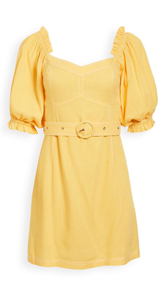 Suboo Ines Linen Balloon Sleeve Mini Dress in yellow