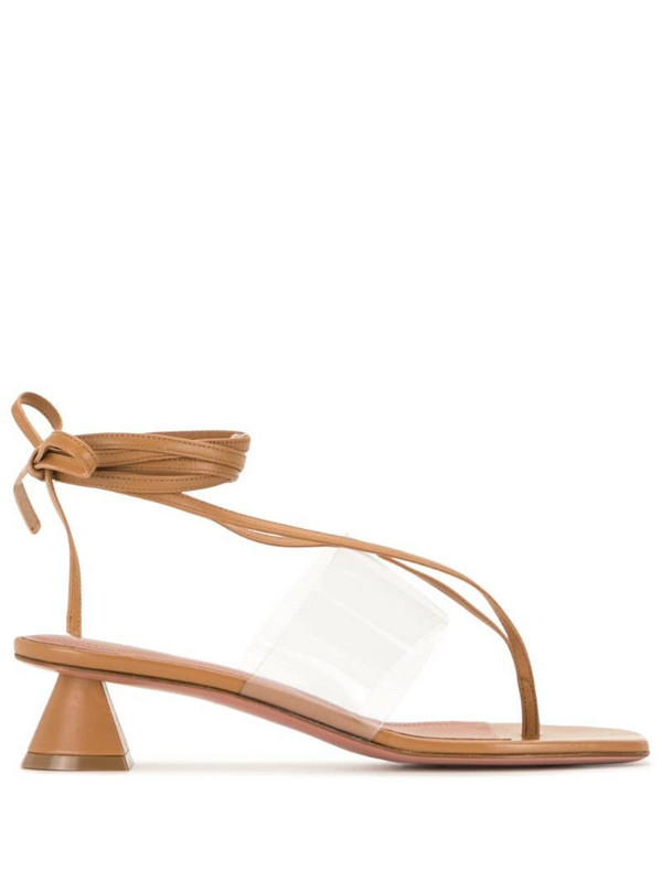 Amina Muaddi Zula 40mm thong sandals in brown