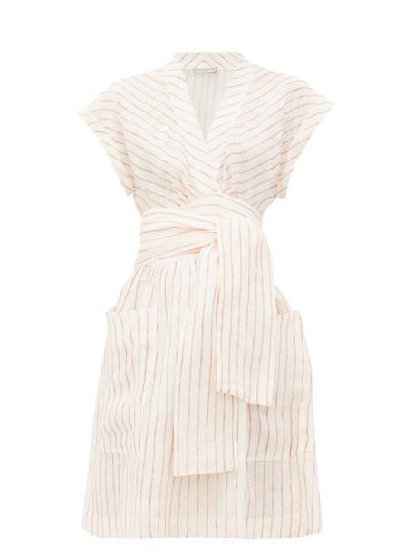 Three Graces London - Aurora Striped Linen Wrap Dress - Womens - Cream Stripe