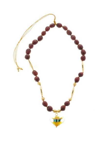 Tohum - Cuore 24kt Gold-plated Glass-heart Necklace - Womens - Black Multi