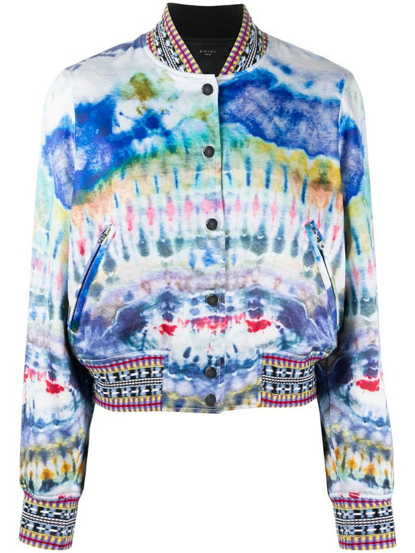 AMIRI abstract print bomber jacket in blue