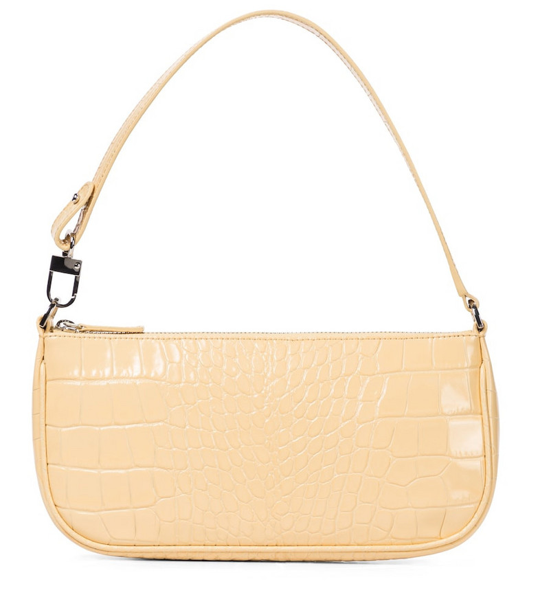 By Far Rachel croc-effect leather shoulder bag in beige