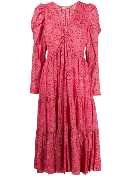Ulla Johnson diamond print flared dress in pink