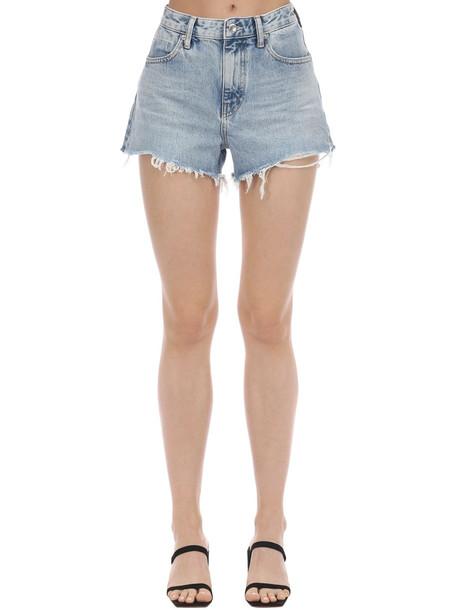 ALEXANDER WANG Back Zip Cotton Denim Shorts in blue