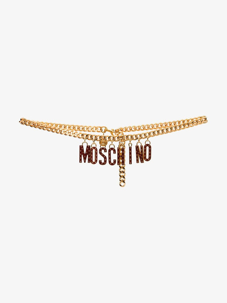 Moschino Gold tone logo lettering chain belt