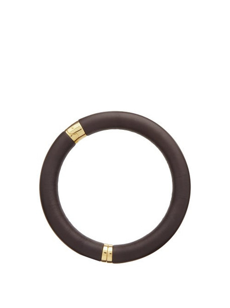 Bottega Veneta - Leather & 18kt Gold-plated Choker - Womens - Brown