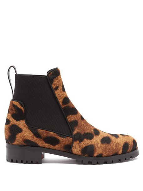 Christian Louboutin - Marchacroche Leopard Print Calf Hair Ankle Boots - Womens - Leopard