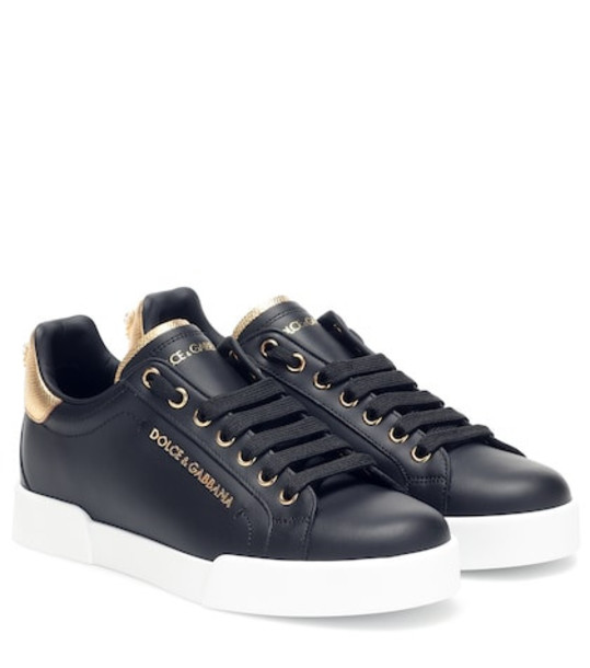 Dolce & Gabbana Portofino leather sneakers in black