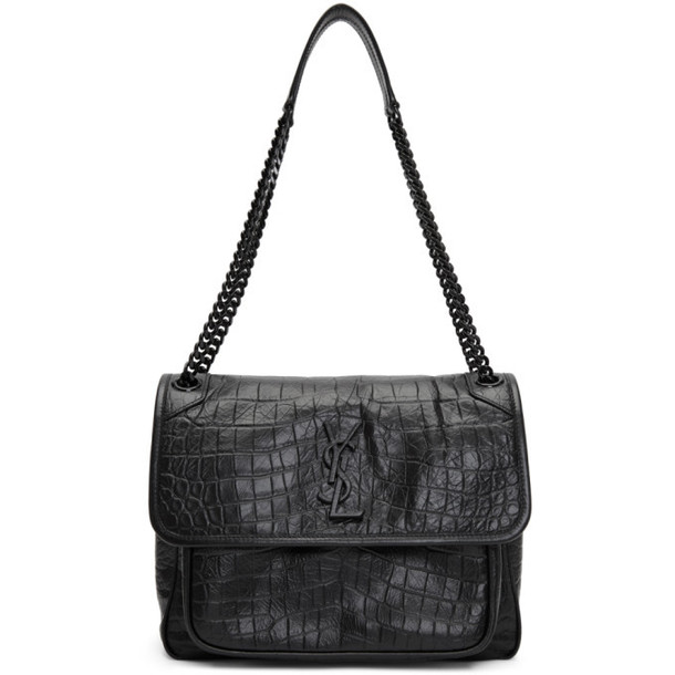 Saint Laurent Black Medium Croc Niki Bag