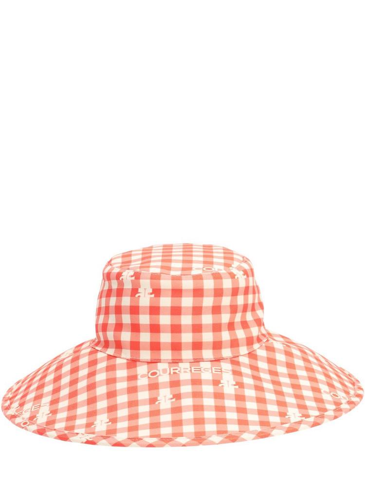 COURREGES Printed Bucket Hat in orange / white