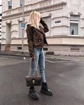 jacket,leopard print,black boots,platform boots,skinny jeans,ripped jeans,brown bag,louis vuitton bag