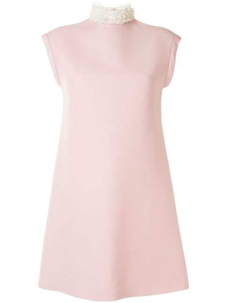 Christian Dior pre-owned ruffled-neck shift dress in pink