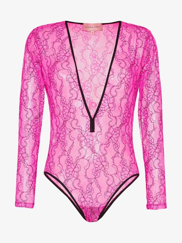 Natasha Zinko plunge-neck lace bodysuit in pink