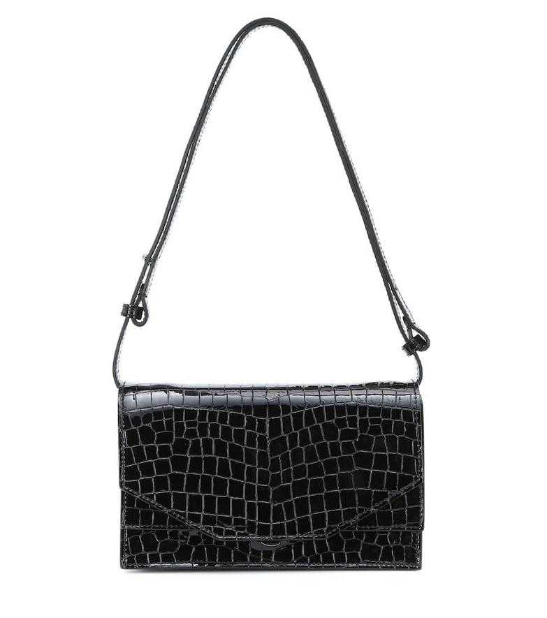 Ganni Croc-effect patent leather shoulder bag in black